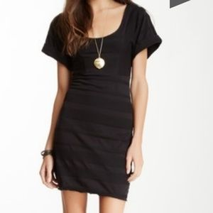 Free People black Lunch Date textured stripe dress
